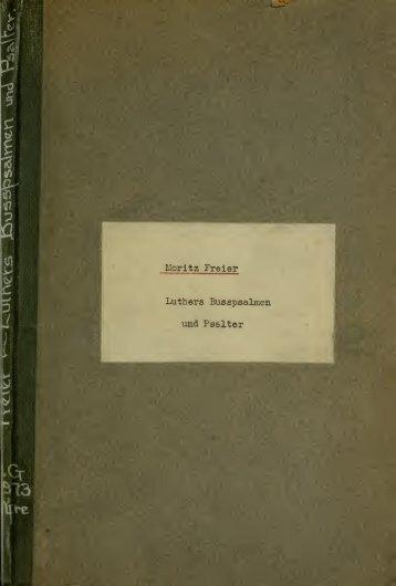Luthers Busspsalmen und Psalter; kritische Untersuchung nach ...