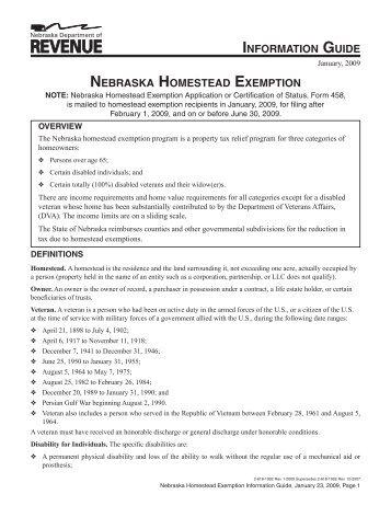 Form 458 Nebraska Homestead Exemption Application
