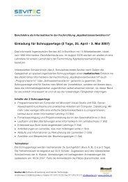 Einladung für Schnuppertage (2 Tage, 25. April - 3. Mai ... - Sevitec AG
