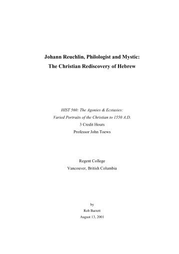 Johann Reuchlin, Philologist and Mystic: The Christian Rediscovery ...