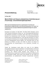 Merck KGaA und Yissum unterzeichnen Vereinbarung zur Forschungs