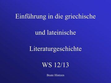 Einführung in die griechische und lateinische Literaturgeschichte ...