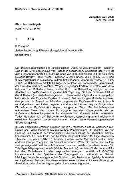 Phosphor, weiß/gelb - Bundesanstalt für Arbeitsschutz und ...