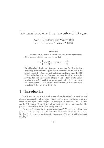 Extremal problems for affine cubes of integers - University of Manitoba