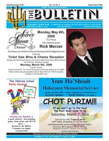 Bulletin – Mar. / April 2009 - Congregation Agudas Israel