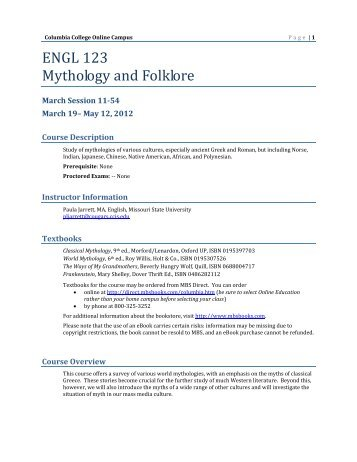 intro to mythology & folklore - Columbia College