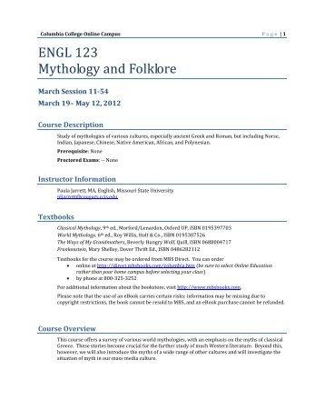 intro to mythology & folklore - Columbia College