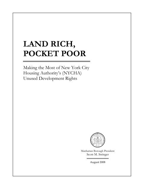 Land Rich, Pocket Poor - Manhattan Borough President