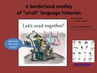 """A borderland medley of """"small"""" language histories - CERCLL"""