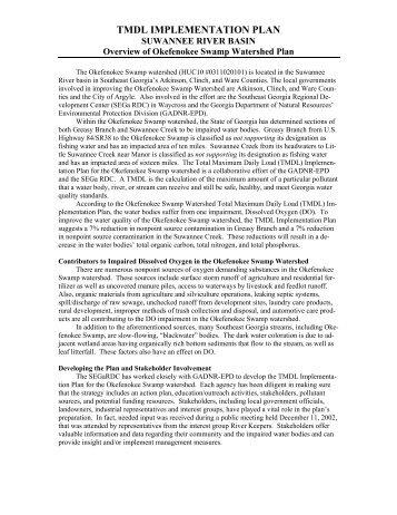 tmdl implementation plan - Georgia Environmental Protection Division