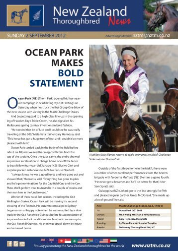Ocean Park (NZ) - New Zealand Thoroughbred Marketing