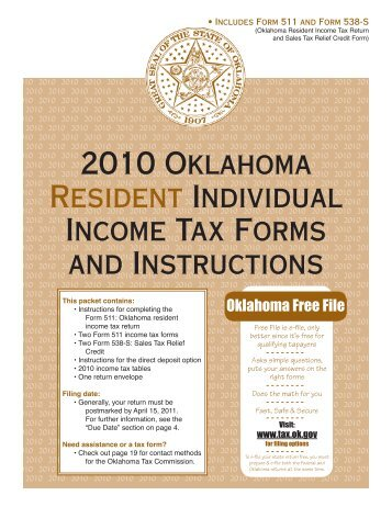 2010 Oklahoma Resident Individual Income Tax Forms and ...