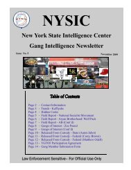 New York State Intelligence Center Gang Intelligence Newsletter