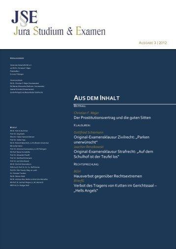 Der Prostitutionsvertrag und die guten Sitten - Zeitschrift Jura ...