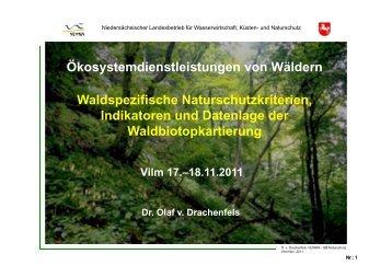 Naturschutzkriterien, Indikatoren und Datenlage der ...
