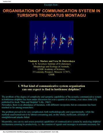 organisation of communication system in tursiops truncatus montagu