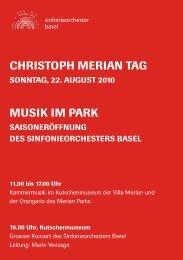 CHRISTOPH MERIAN TAG MUSIK IM PARK - beim ...