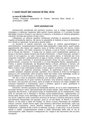 note geografiche - Trentino Cultura