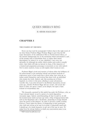 QUEEN SHEBA'S RING - PDFbooks.co.za
