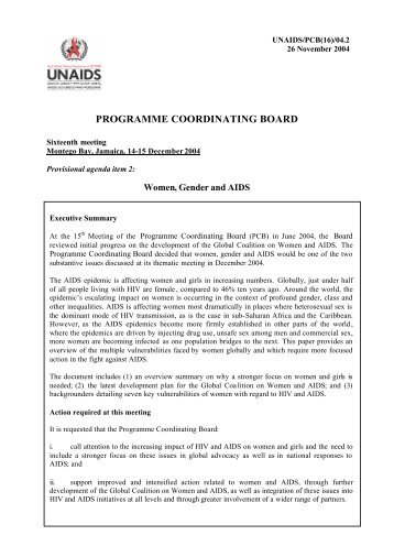 Programme Coordinating Board, sixteenth meeting, Montego Bay ...