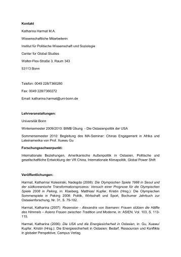 Lebenslauf - Universität Bonn – Center for Global Studies