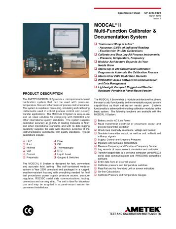 MODCAL® II Multi-Function Calibrator & Documentation System