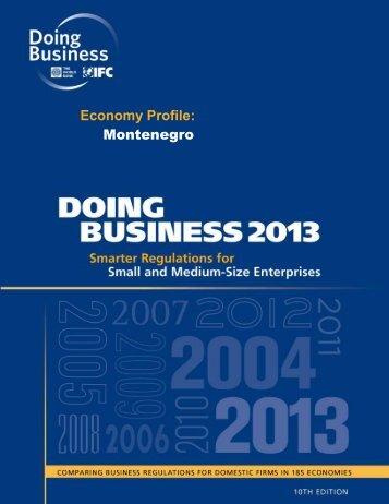 my Economy Profile: Montenegro - Doing Business