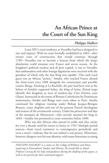 African Prince at the Court of the - College of William and Mary