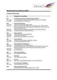 Bemerkungen zum Budget 2003 - Gemeinde Sirnach