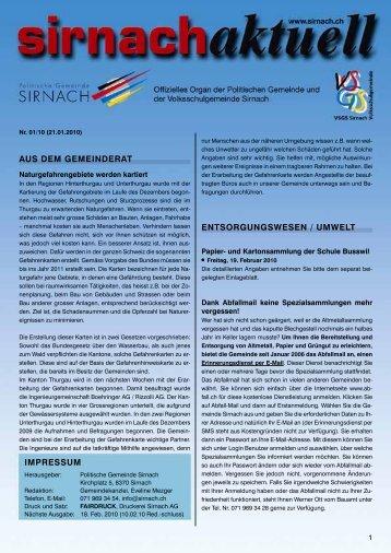 AUS DEM GEMEINDERAT IMPRESSUM ... - Gemeinde Sirnach