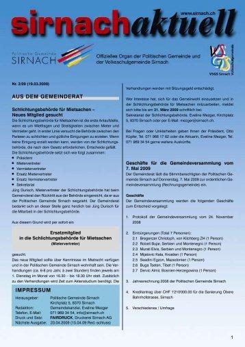 Sammeldatum: Dienstag, 07. April 2009 bis und ... - Gemeinde Sirnach