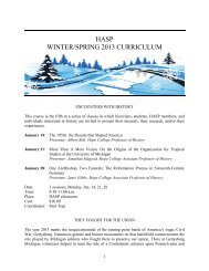 HASP WINTER/SPRING 2013 CURRICULUM - Hope College