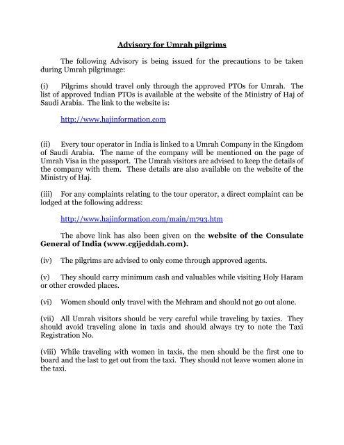 Advisory for Umrah pilgrims - Consulate General of India, Jeddah