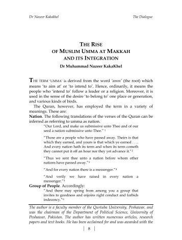 The Rise of Muslim Umma at Makkah and - Qurtuba University of ...