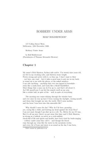 ROBBERY UNDER ARMS - PDFbooks.co.za