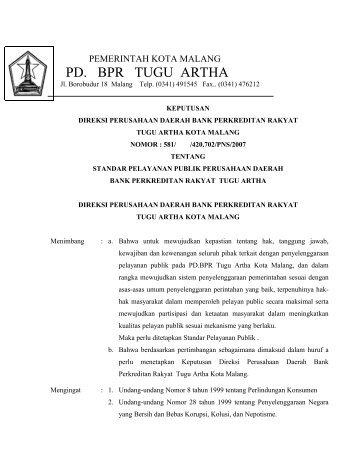 PD. BPR TUGU ARTHA - Pemerintah Kota Malang
