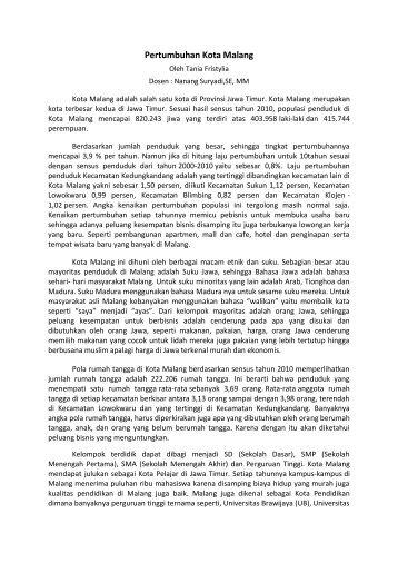 Pertumbuhan Kota Malang - Universitas Brawijaya