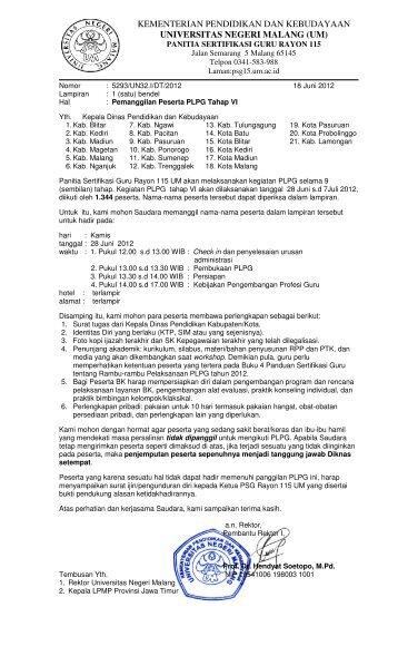 Daftar peserta PLPG tahap 6 kota Malang - Panitia Sertifikasi Guru ...