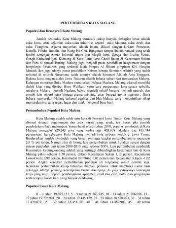 ARTIKEL TENTANG PERTUMBUHAN KOTA MALANG