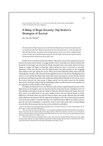 A Malay of Bugis Ancestry - Cambridge Journals