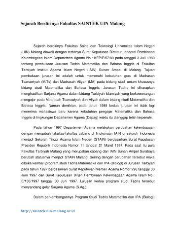 Sejarah Berdirinya Fakultas SAINTEK UIN Malang