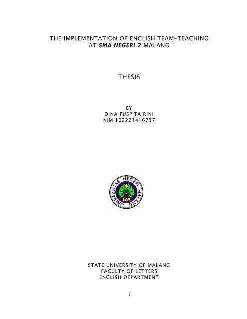 Thesis Fakultas Sastra Universitas Negeri Malang