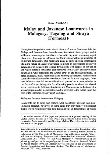 Malay and Javanese Loanwords in Malagasy ... - Sabrizain.org