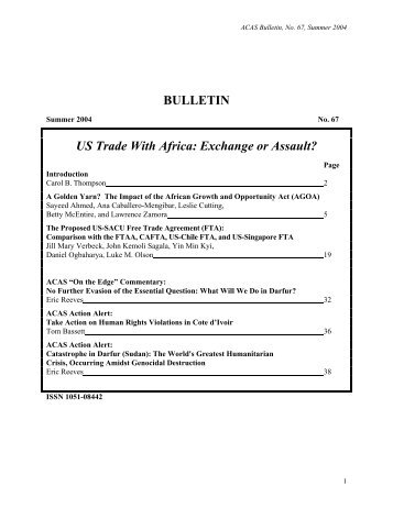 BULLETIN US Trade With Africa: Exchange or Assault?