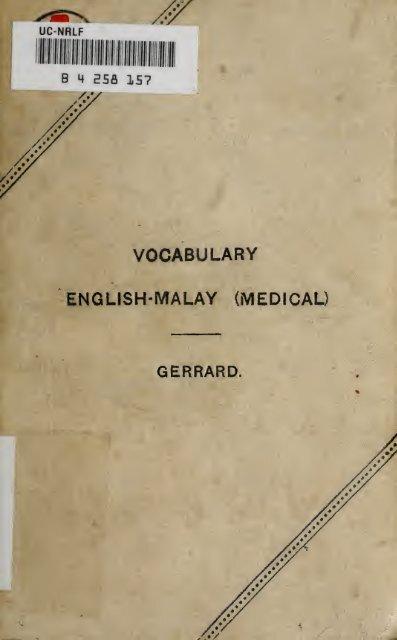 A Vocabulary Of Malay Medical Terms Sabrizain Org