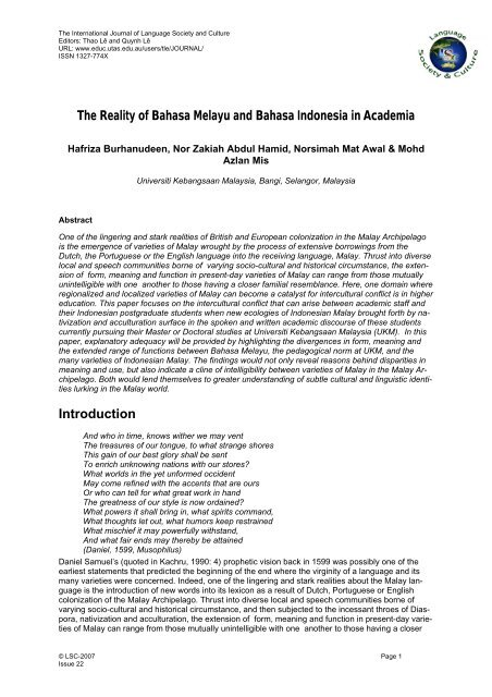 The Reality Of Bahasa Melayu And Bahasa Indonesia In Academia