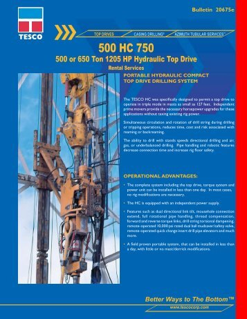 500 HC 750 - TESCO Corporation