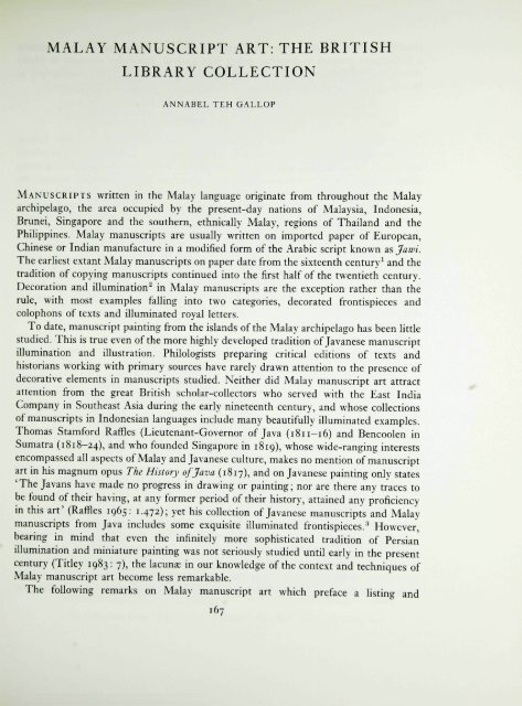 MALAY MANUSCRIPT ART: THE BRITISH LIBRARY COLLECTION