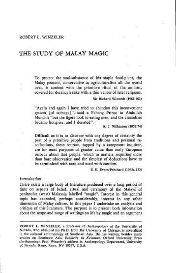 THE STUDY OF MALAY MAGIC - Sabrizain.org