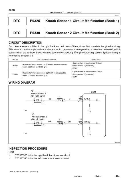 dtc p0325 knock sensor 1 circuit malfunction (bank 1) dtc